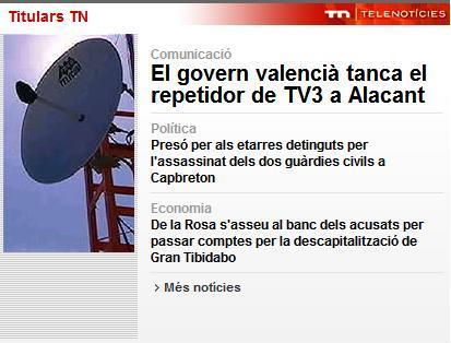 Tallen la TV3 al sud del PV