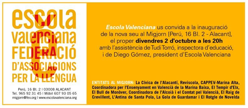 Inauguració de la seu d'Escola Valenciana
