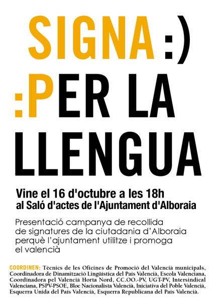 Signa per la llengua en Alboraia